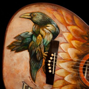 Hand painted custom Indian Rosewood Guitar, artwork by Clark Hipolito