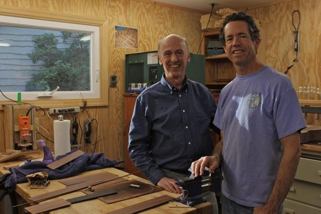 Craig Turn with Jay in the shop selecting wood for his custom tenor Lichty Ukulele