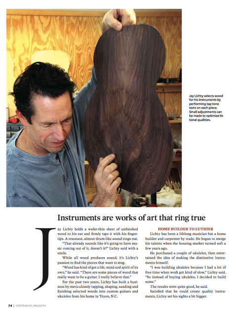 Lichty Guitars' feature article, Spartanburg Magazine