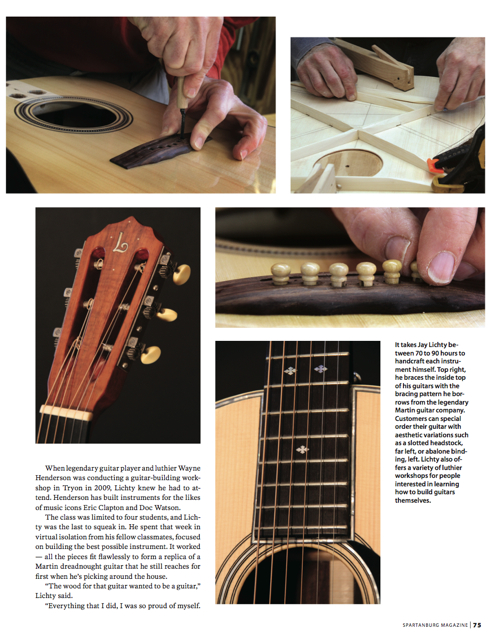 Spartanburg Magazine, Lichty Guitars feature