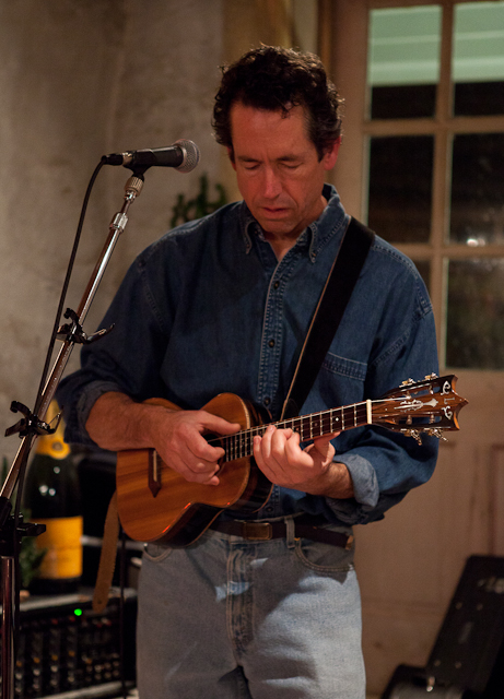 Jay Lichty playing his custom lichty ukulele at the Saluda Wine Cellar