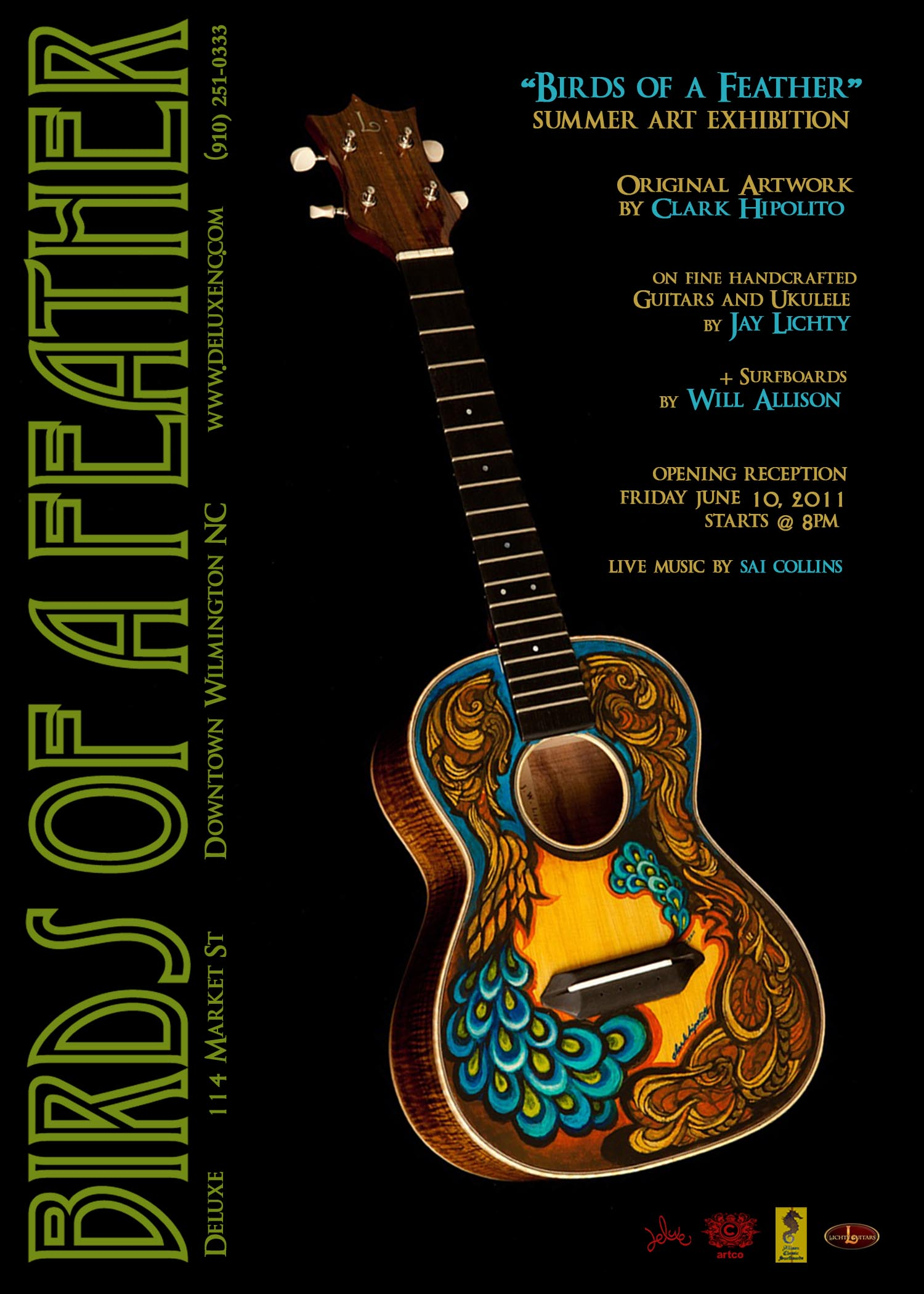 Birds of a Feather Art Exhibit, guitar artwork