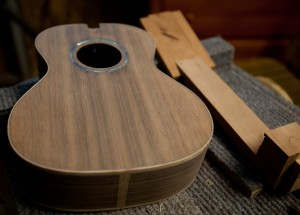Indian Rosewood Tenor Ukulele Construction, Sinker Redwood Top
