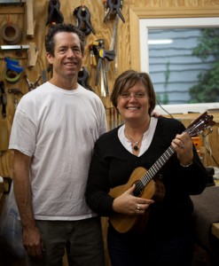 Cocobolo Tenor Ukulele new owner Mary and luthier Jay Lichty