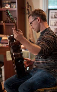 Justin and his Custom Brazilian Rosewood Guitar