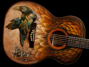 Hand painted guitar, built by Jay Lichty, artwork by Clark Hipolito