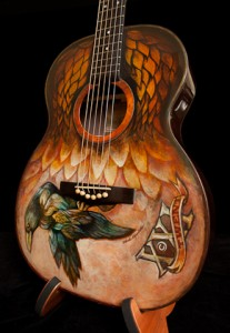 Hand painted guitar, painted acoustic guitar