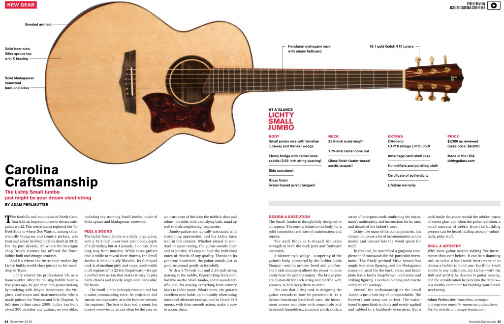 Lichty GUitar review Acosutic Guitar mag