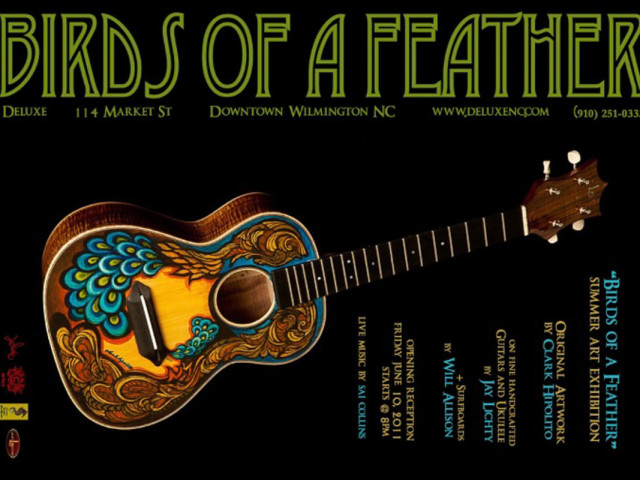 Bird of a Feather Hand painted Instrument Exhibit
