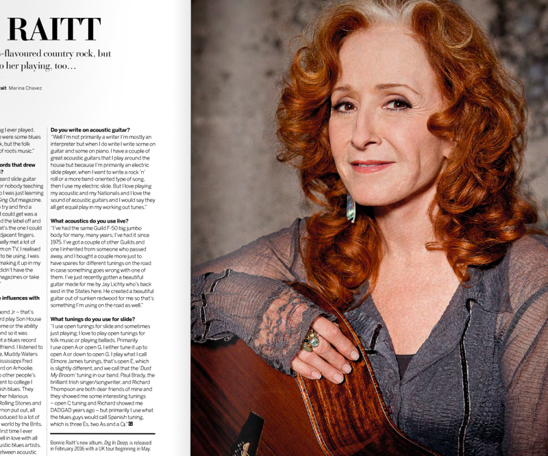 Bonnie Raitt and her Lichty Acoustic Guitar