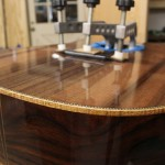 Cocobolo Dreadnought - bridge construction - Lichty Guitars