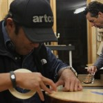 Clark Hipolito and Jay Lichty in the Lichty Guitars shop