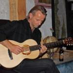 Geoff Achison test-driving a Lichty Koa Parlor Guitar