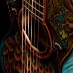 Hand painted parlor guitar