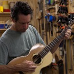 NC luthier Jay Lichty playing a custom Patchwork Parlor Guitar
