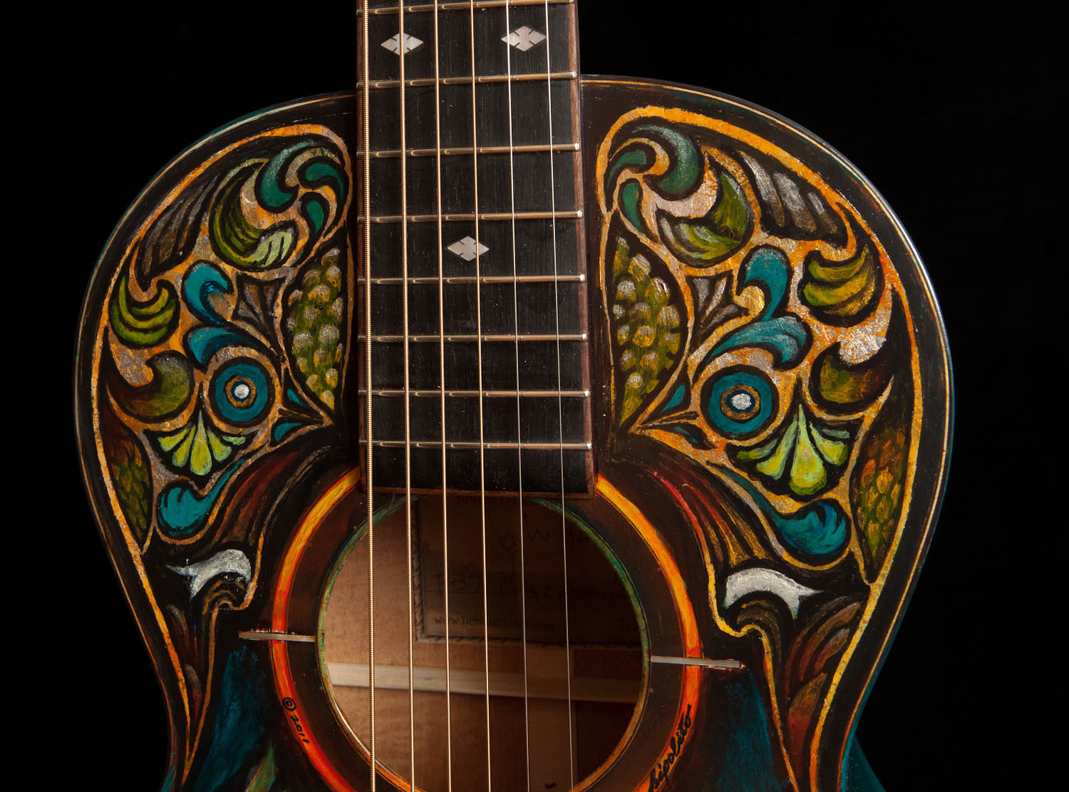 Lichty Handcrafted Parlor Guitar, artwork by Clark Hipolito-