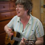 Luthier Shop visitor Denise Ostler