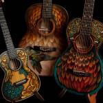 Guitar Artwork, hand painted guitars and ukulele