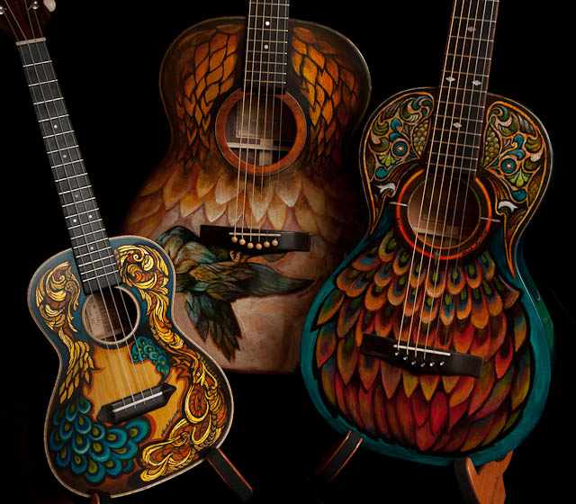 Guitar Artwork, hand painted guitars and ukulele
