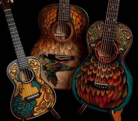 Hand painted Lichty Guitars and Ukulele - artwork by Clark Hipolito