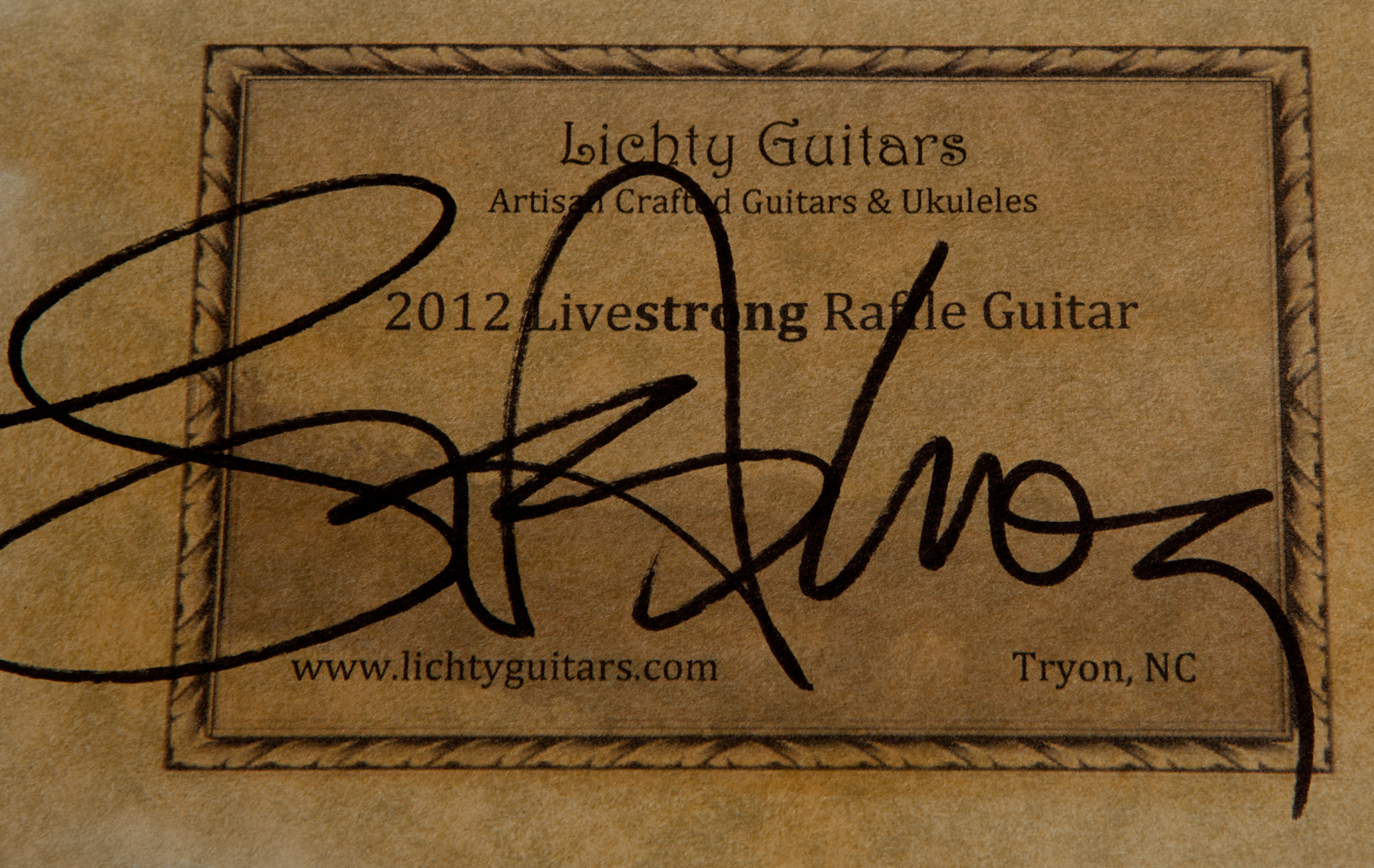 Lance Armstrong signature on Lichty Guitar label
