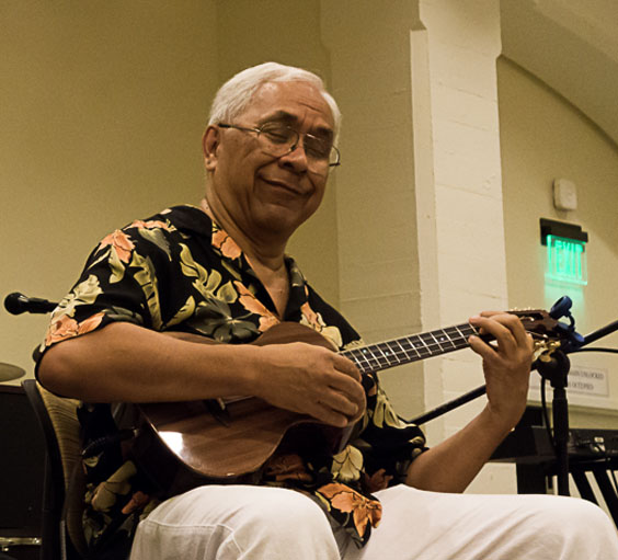 Kimo Hussey playing a custom Lichty Ukulele